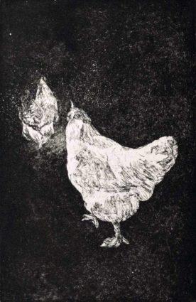 kroseth-etchings-chickens-walking-away