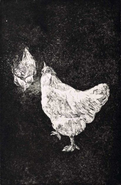 kroseth-etchings-chickens-walking-away