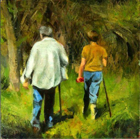 kroseth-morel-hunt-heading-into-woods