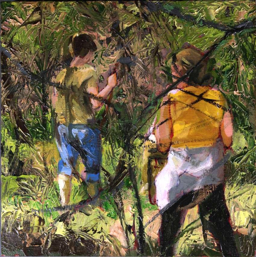 kroseth-morel-hunt-scratching-around-shrub