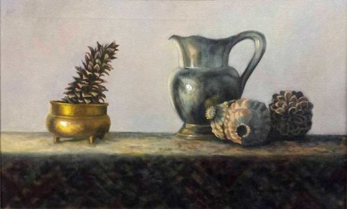 kroseth-still-life-pitcher-with-pinecones