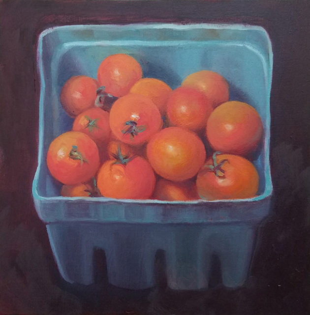 cherry tomatoes 8x8 oil on wood panel 2017 650w