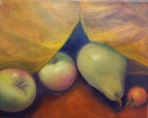 fruit and silk 8x10 oil on canvas 2017 650w
