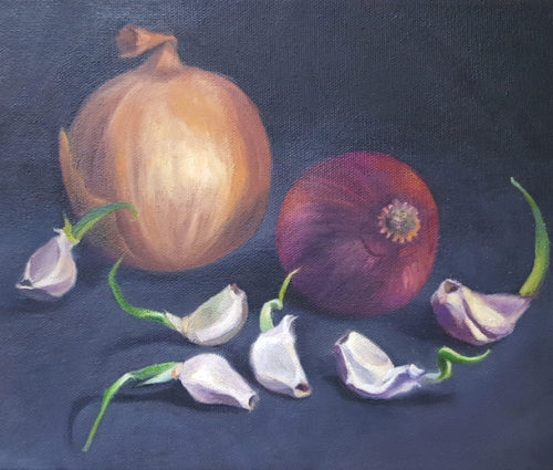 sprouting onions and garlic - 8x10 - oil on canvas 650w