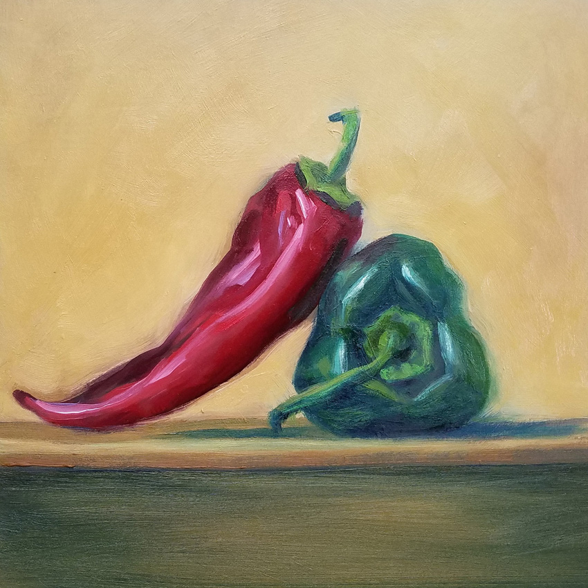peppers on a shelf 8x8 small